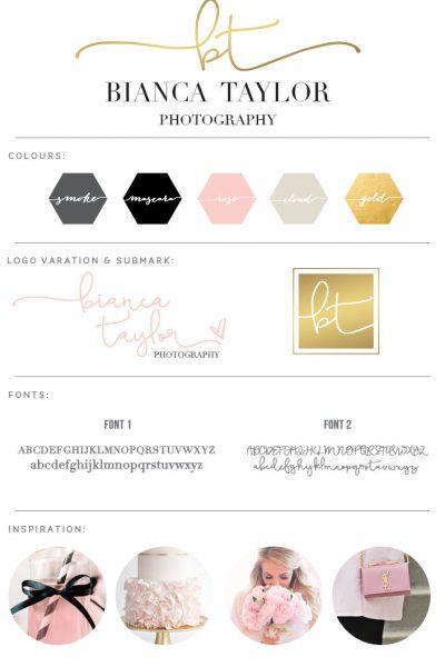 handwritten logo, branding board, pink gold black logo, pink gold branding board, logo kit, premade logo, pre made photography logo, etsy logo,
