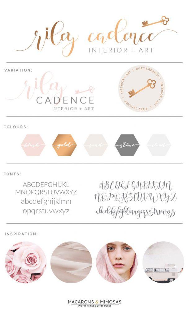 blush gold branding board, key logo, script interior design logo, gold script logo, pre made logo, branding board, logo kit, premade logo kit, brand board, pink gold grey brand office