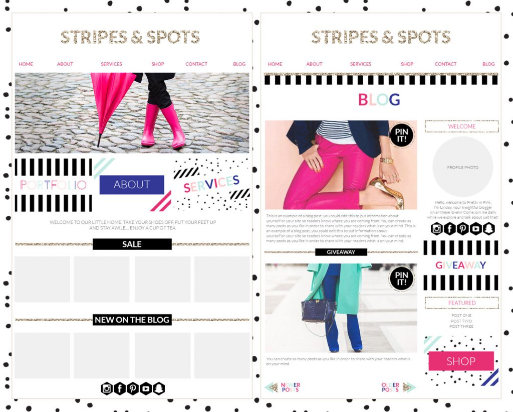 Branding Kit, Photographer Brand, Blogger WordPress blog template, blogger branding kit, website elements kit, blog elements kit, blog kit, pink gold branding board, pink gold office, Polka dot Branding, Spot Web template