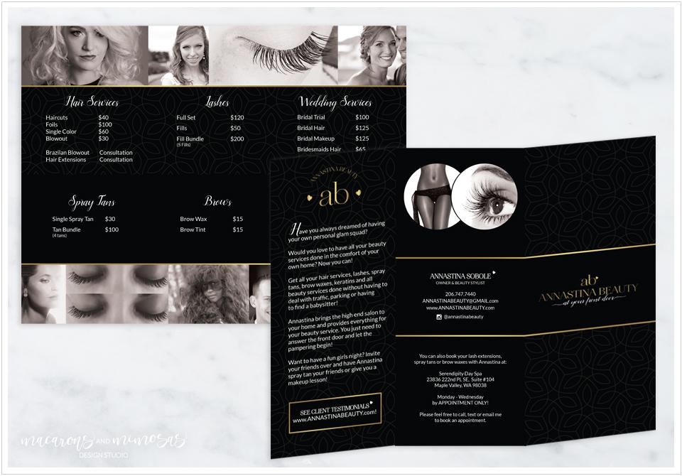 Custom Logo Design, Photography Branding, Photography Branding, Branding Kit, Marketing Brand, Photography Logo Design, Photography Stamp, Branding board Black Gold, Modern Chic Branding Board, Mid Century Modern logo, Brochure Design Beauty Spa