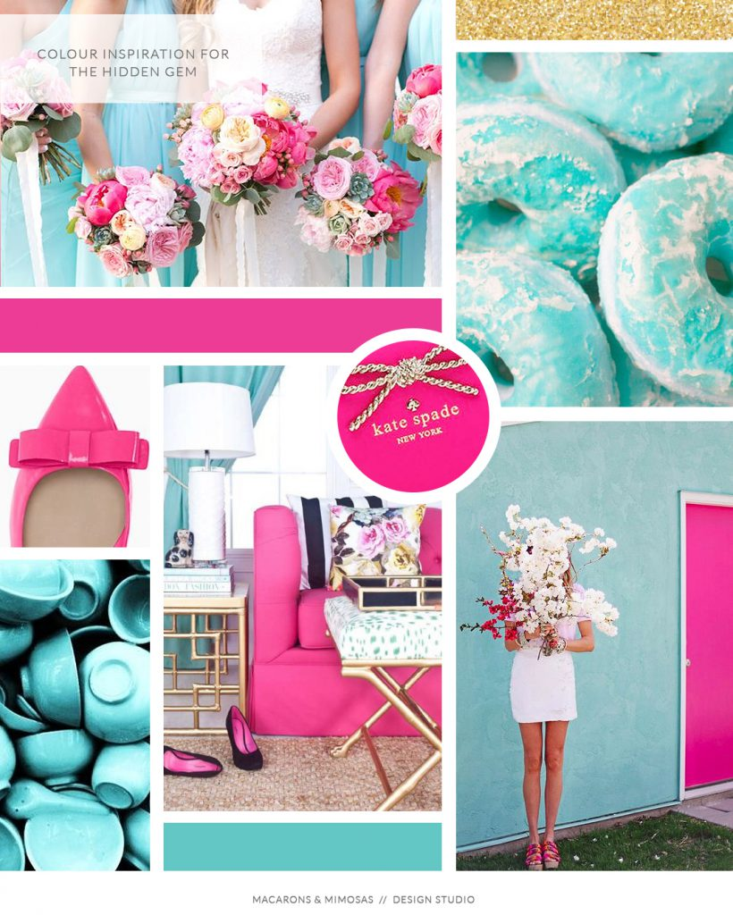hot pink teal branding board, colour inspiration hot pink, kate spade inspired logo brand