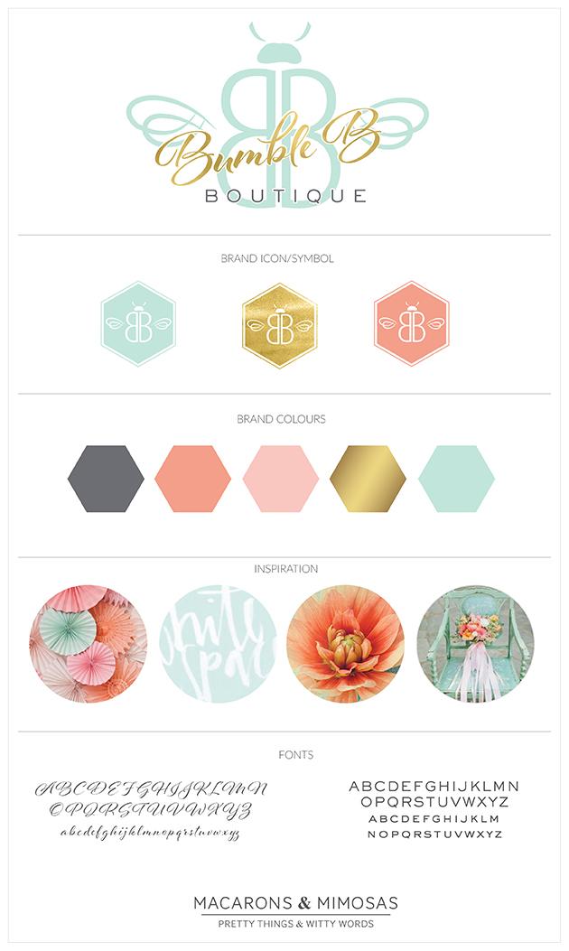Branding Board, Mint Pink Grey Gold, Boutique logo, custom logo design, Photography Logo, Branding kit