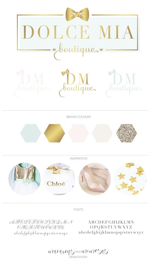 Mint Gold Blush Pink Branding board, Boutique Branding Logo Design