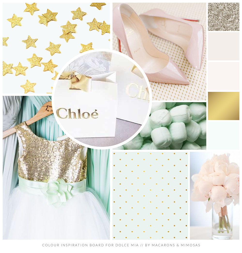 Mint Gold Blush Pink Branding board, Boutique Branding Logo Design