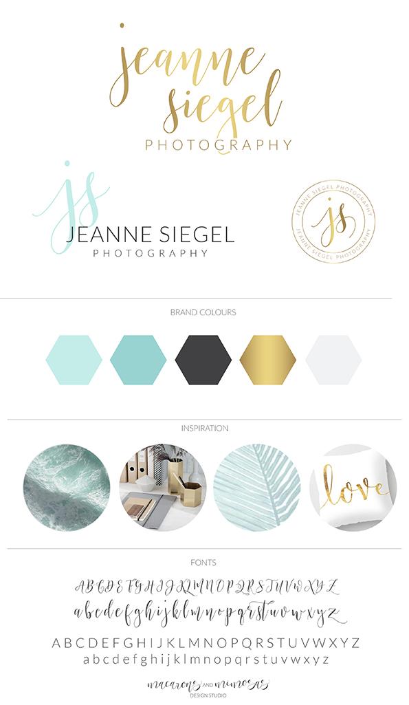 Mint Gold Grey Branding board, Photography Branding Logo Design