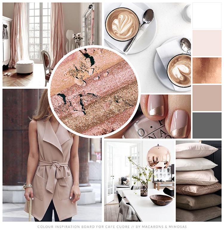 Pink Rose Gold Branding board, Coffee Branding Logo Design