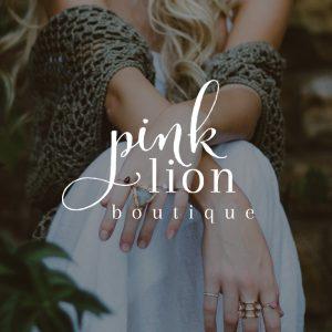 Boutique Logo, Small Business Logo Design, Script Calligraphy Logo, Pink Lion Boutique Logo