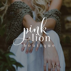 Boutique Logo, Small Business Logo Design, Script Calligraphy Logo, Pink Lion Boutique Logo