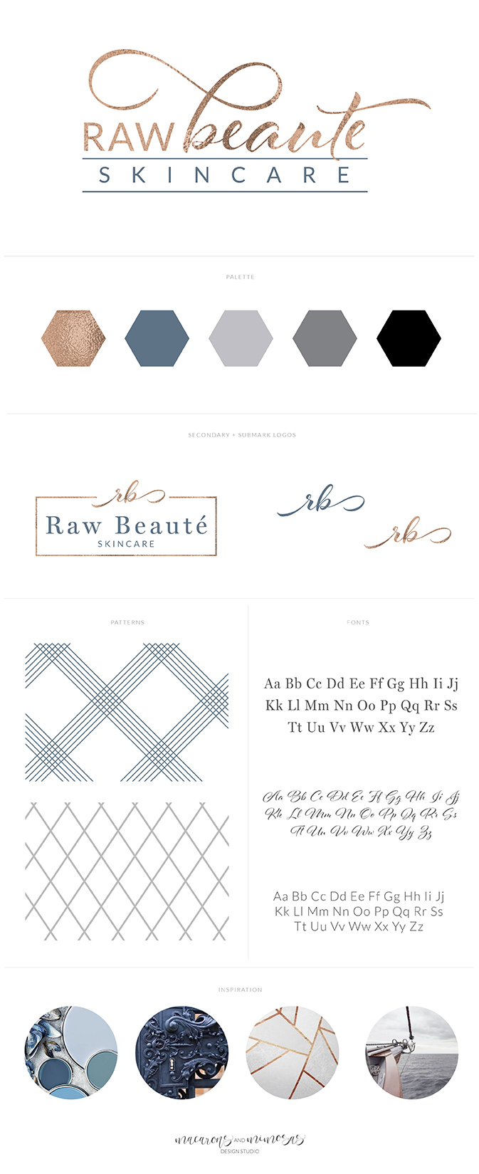 skincare logo branding, blue copper navy brand board, health and wellness logo, spa logo