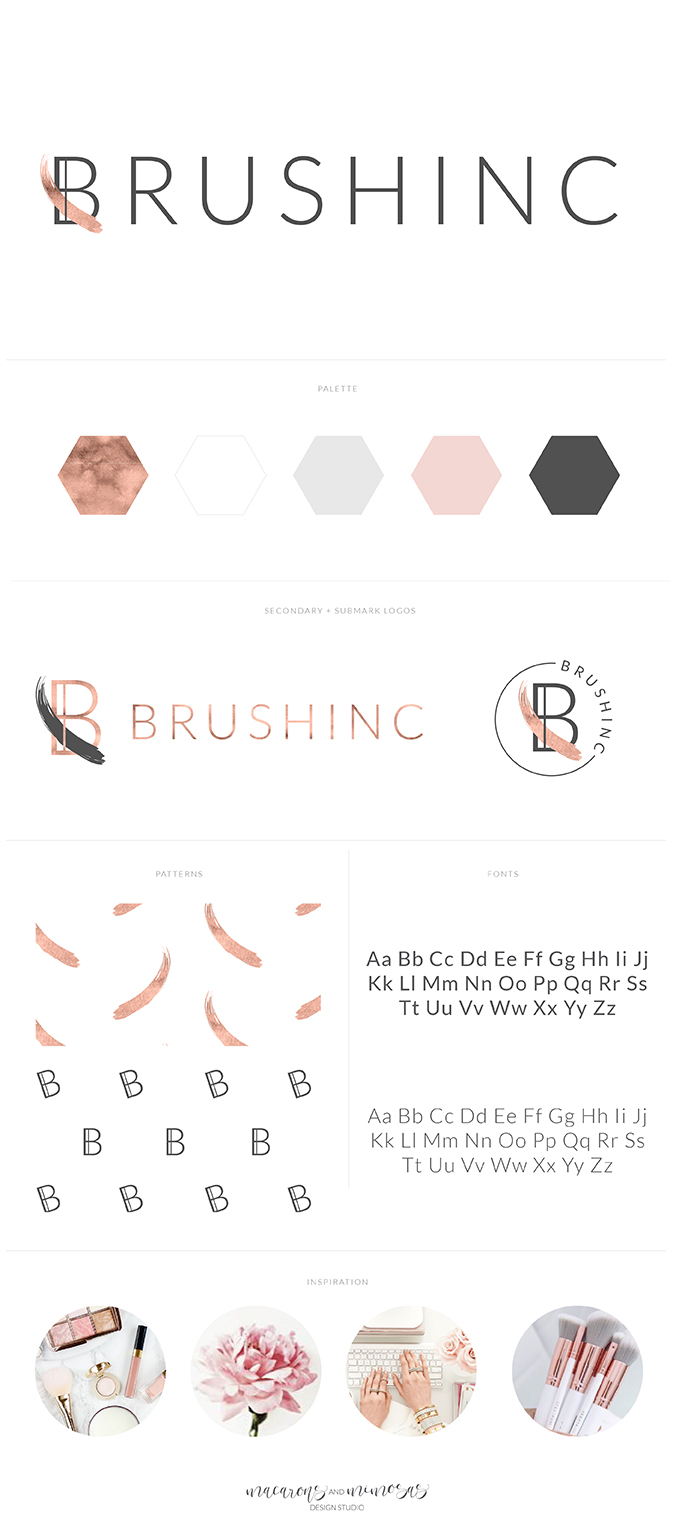 Cosmetic Logo, Beauty Logo, Brushstroke Logo design, Custom beauty branding, rose gold branding board, Pink Grey branding