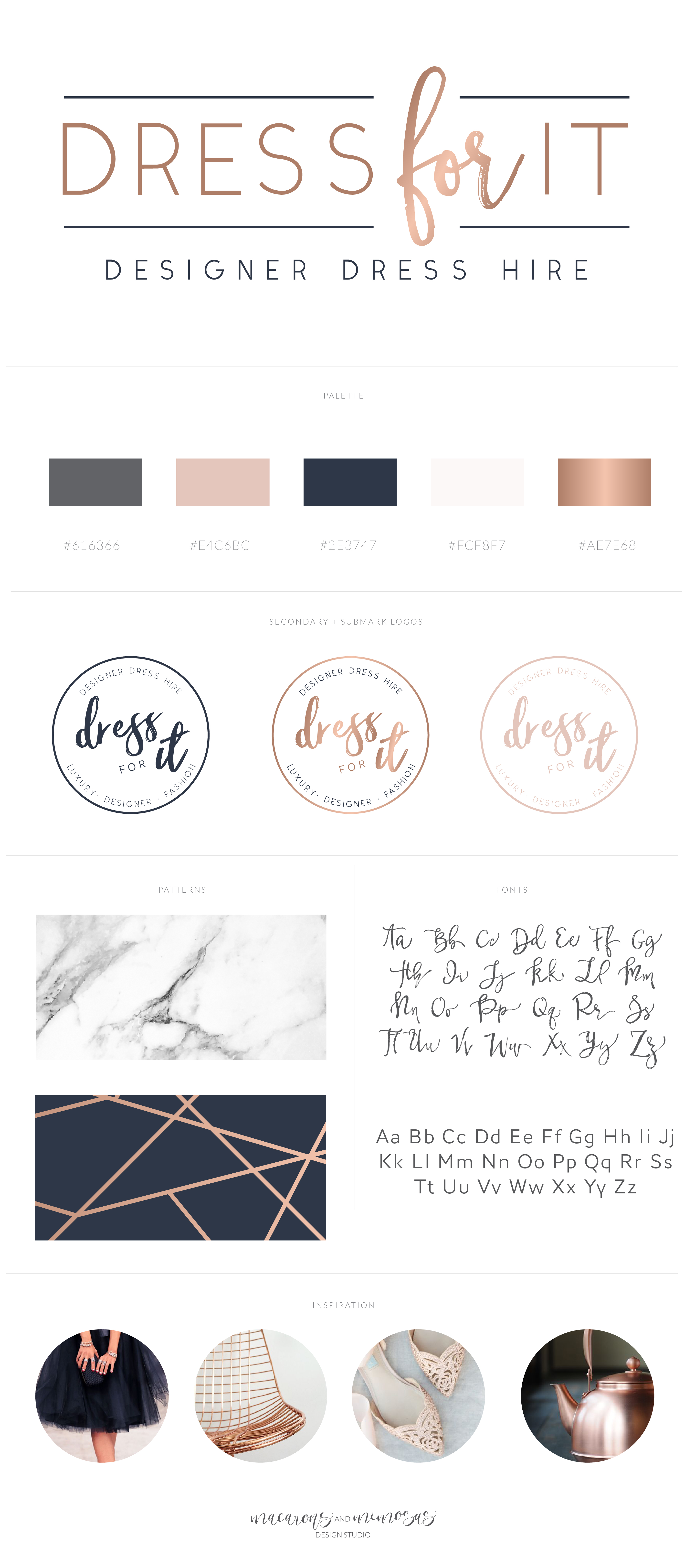 Fashion Logo, Blogger Logo website header, navy blush branding, copper navy logo, handwritten brush script font logo