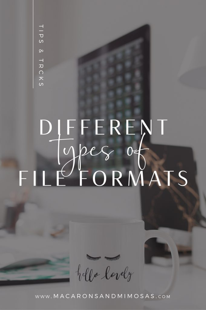 Types of file format for design, AI, EPS, PSD, JPEG and PNG