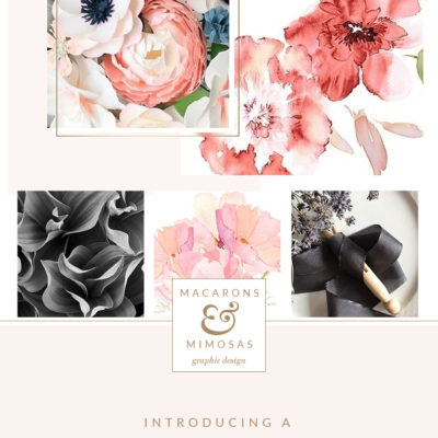 Flower logo design, Florist logo branding, watercolor flower logo brand board, pink rose gold grey branding board, pink rose gold colour inspiration board, flower boutique branding identity