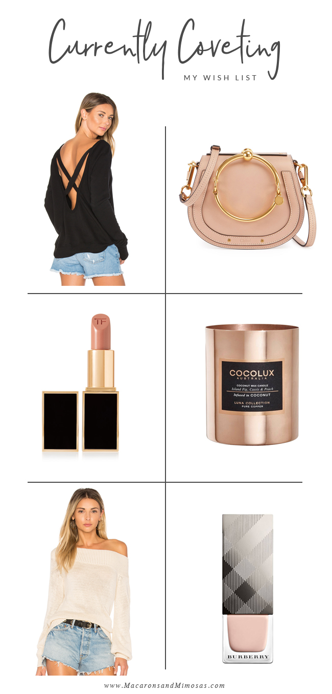 Currently Coveting, Tom Ford Lipstick blush nude, off the shoulder sweater, burberry nude pink nail polish, cocolux coconut candle, chloe nile bag biscotti beige, open back black sweater revolve