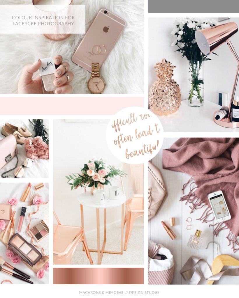 Rose gold pink branding board, blush pink script logo, feather logo design, rose gold feather branding, photography logo design, wedding photographer branding package