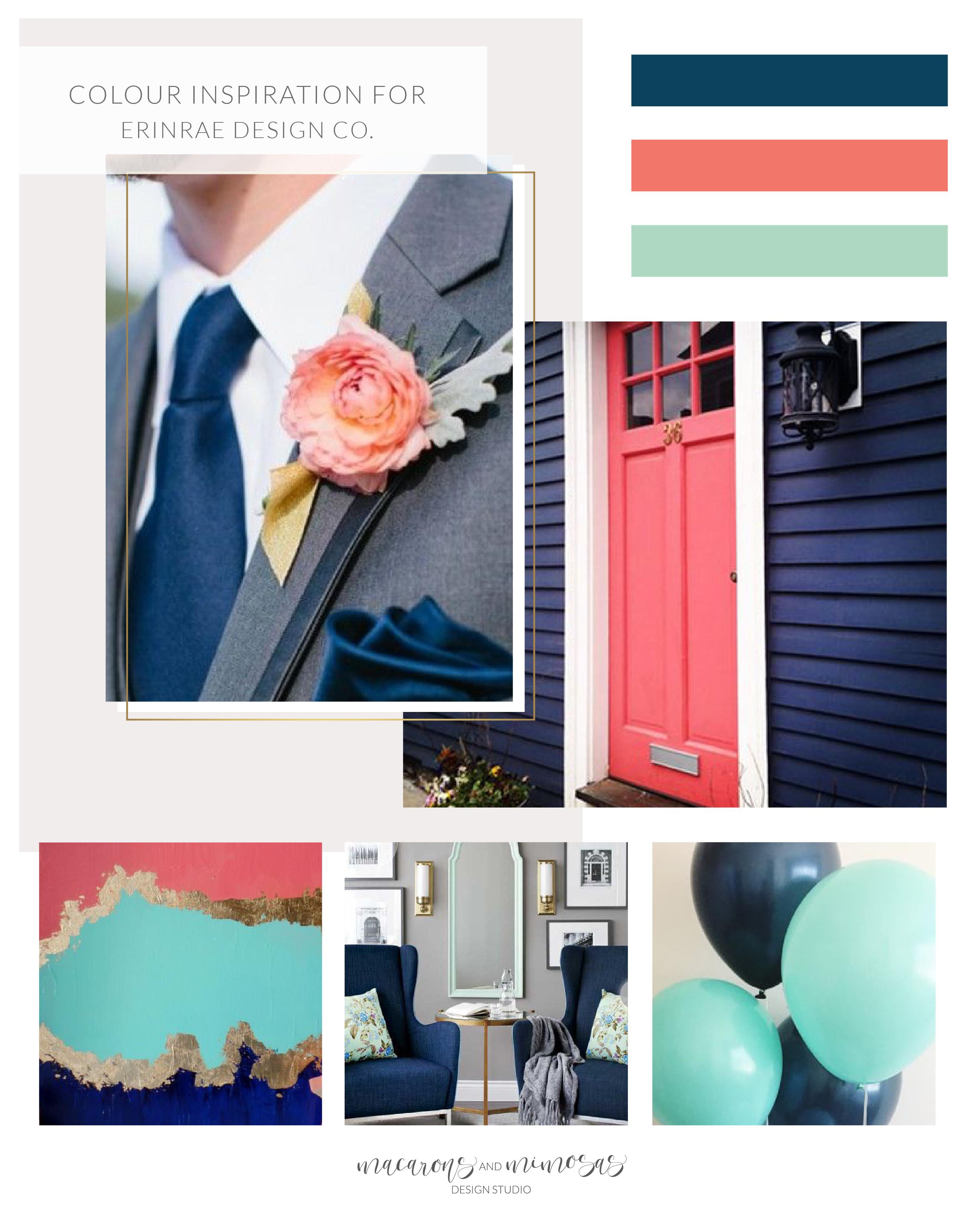 coral Navy Blue mint brand board, coral mint logo design, modern classic script logo identity, script handwritten initials logo, custom design boutique logo