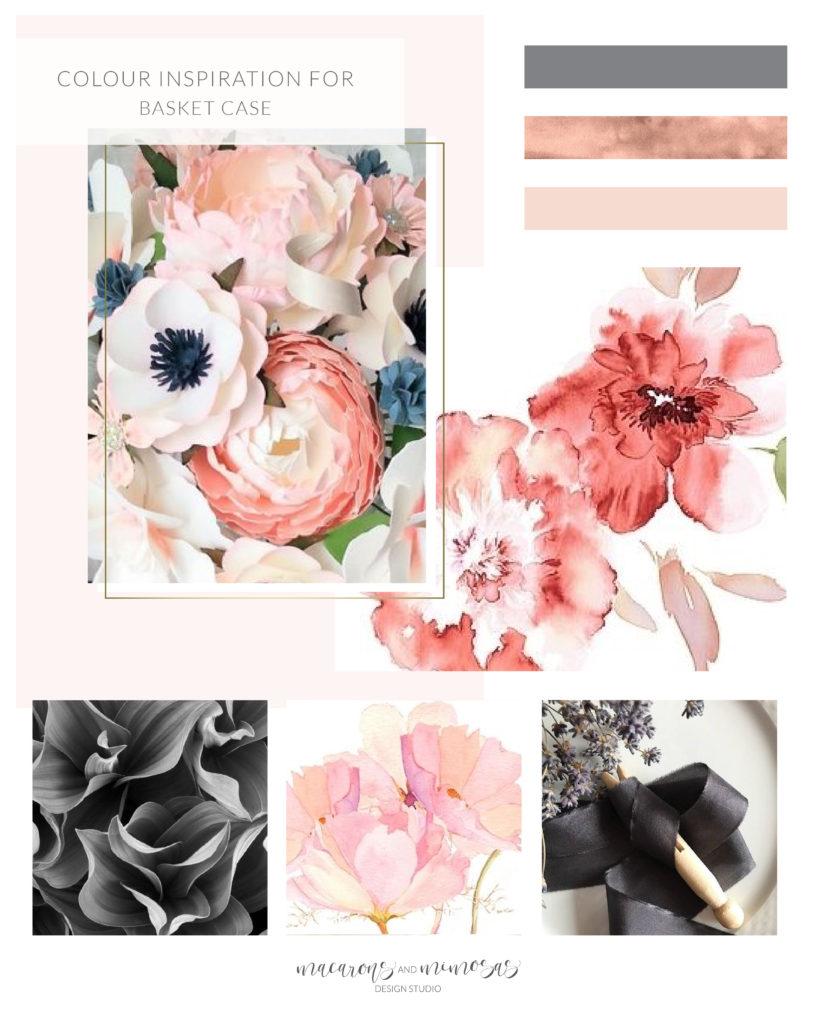 Flower logo design, Florist logo branding, watercolor flower logo brand board, pink rose gold grey branding board, pink rose gold colour inspiration board, flower boutique branding identity