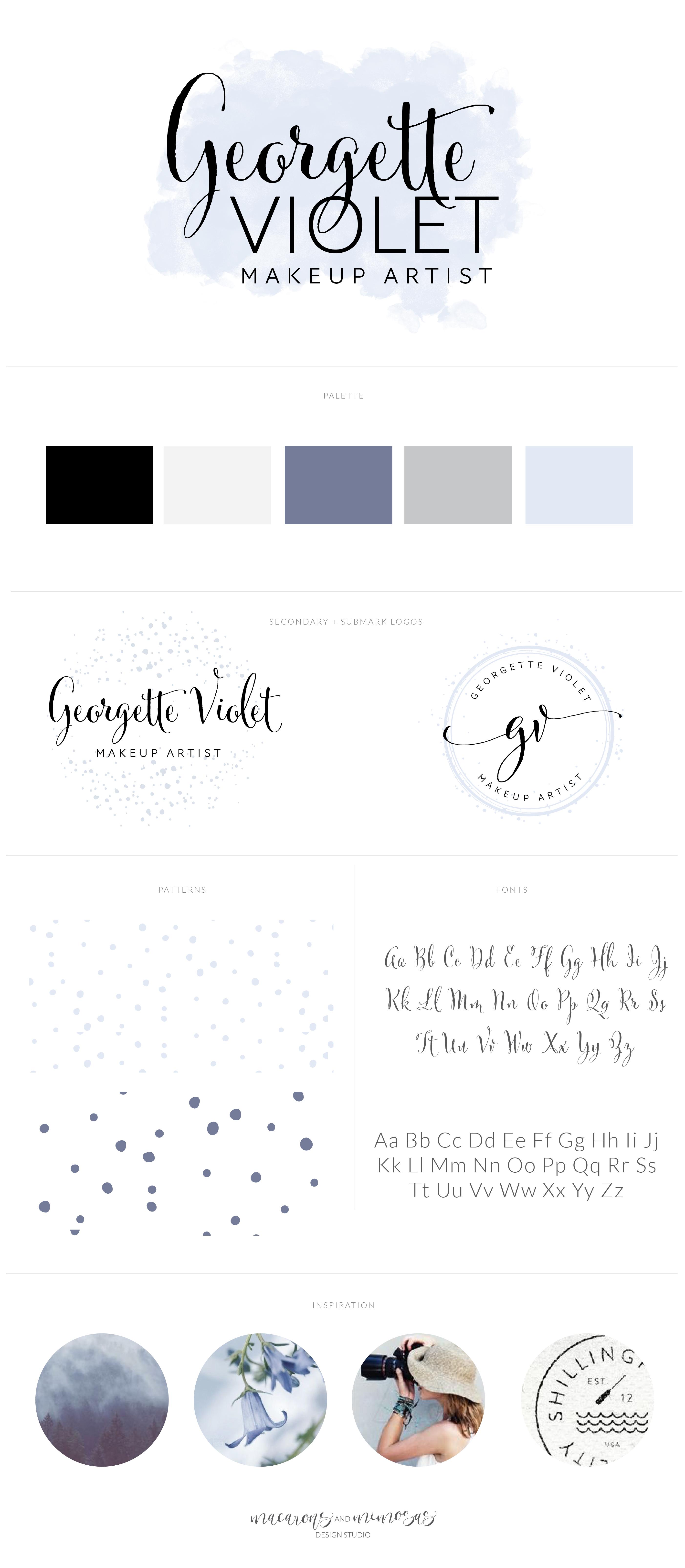 Violet grey purple branding board, watercolor logo design, purple branding inspiration, makeup artist watercolor stamp logo, polka dot logo design, script logo kit, branding package watercolor purple
