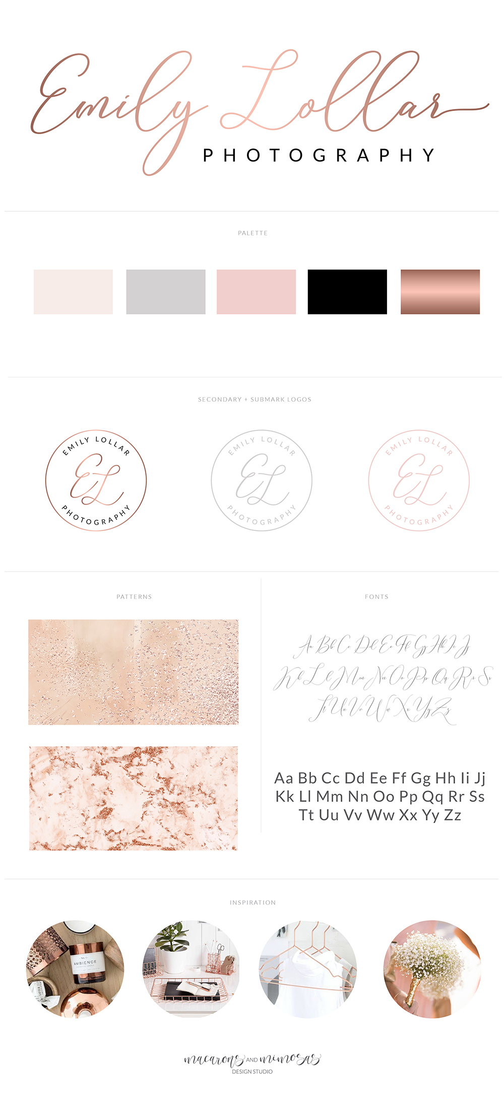 Premade Marble Logo, Rose Gold Logo, Marble and Rose Gold Logo, Photography Logo