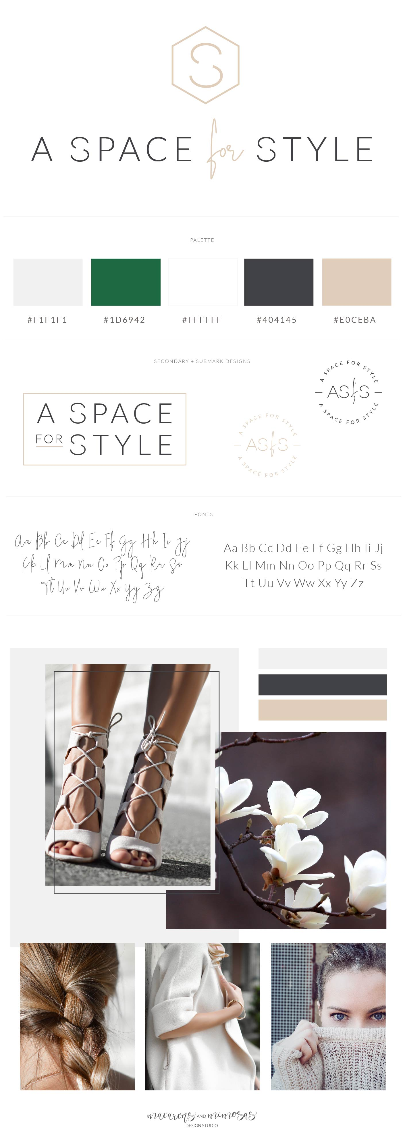 Fashion Logo Design, Branding Kit - monogram, intials logo design, beauty blog brand, handwritten logo, customizable logo, modern logo, mid century logo design