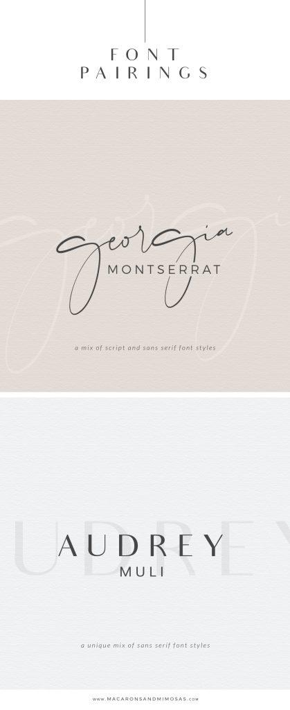 Free Font Pairings Georgia Montserrat, Audrey Muli Google fonts