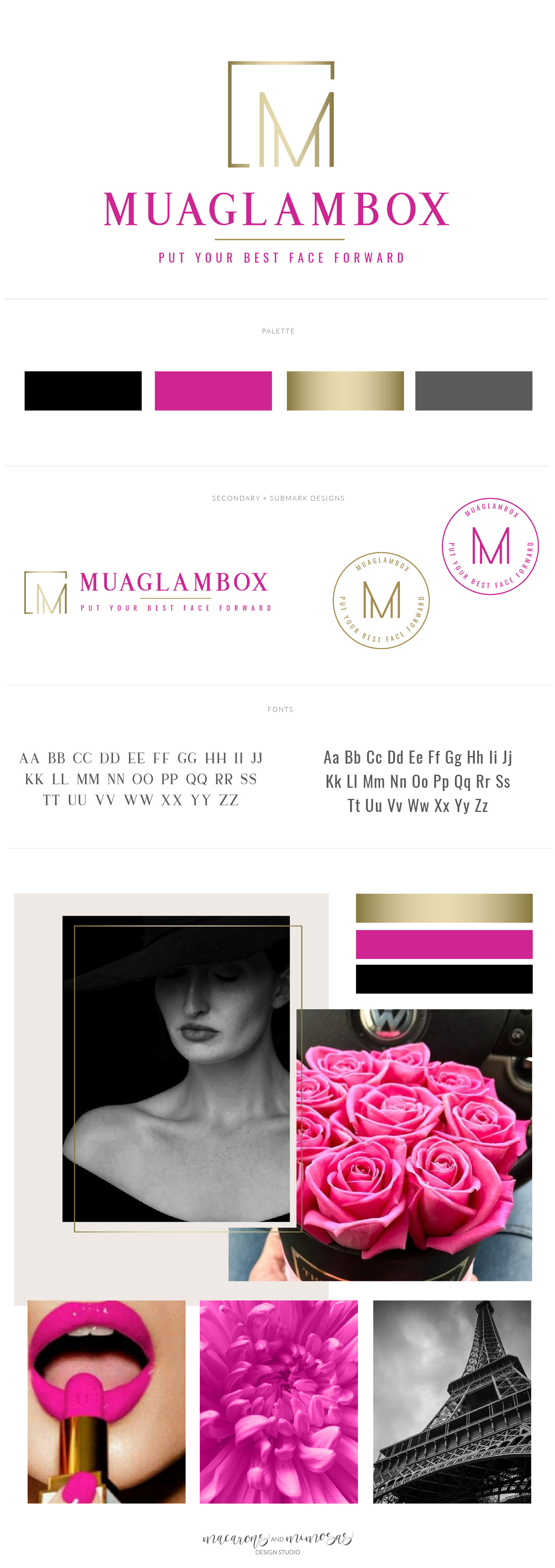 beauty logo design, makeup logo branding, makeup and beauty logo, pink and black logo design, custom logo design clean