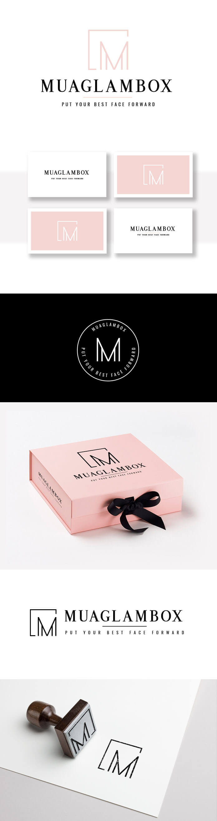 beauty logo design, makeup logo branding, makeup and beauty logo, pink and black logo design, custom logo design clean